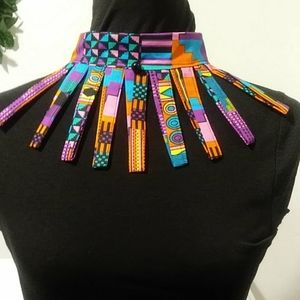 Vibrant multi-color strand neck collar/choker